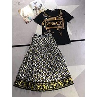 """VERSAC"" Woman Leisure Fashion Letter Personality Printing Spell Color Crew Neck Short Sleeve Tops Stripe  Garib Pleated Skirt Two-Piece Set Casual Wear Sportswear"