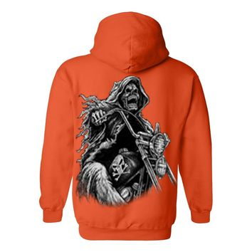Men's/Unisex Zip-Up Hoodie OVERSIZED Biker Grim Reaper Skeleton
