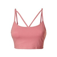 Stretcheable V Caged Cropped Cami Bra Top with Adjustable Straps (CLEARANCE)