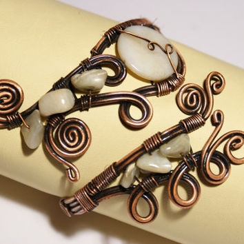 copper cuff  bracelet  white mother of pearl bracelet wire wrapped jewelry handmade