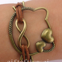 hello kitty,& infinity karma Charm Bracelet Antique bronze-- Wax Cords bracelet-- the best friendship gift 701