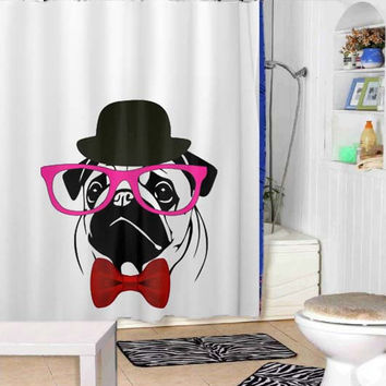 PUG tank t shirt crazy shower curtains adorabel bathroom and heppy shower.