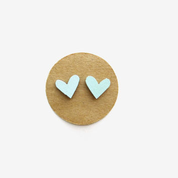 Small Wooden Mint Heart Earrings, Heart Jewelry, Wooden Earrings, Mint Earrings, Mint Hearts, Small Heart Studs, Nickel-Free Studs