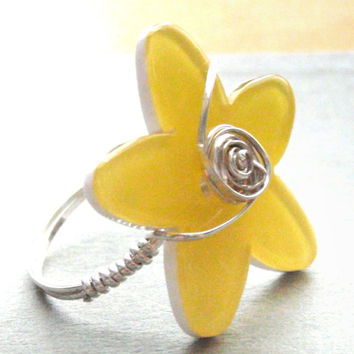 Yellow Flower Button Sterling Silver Wire Wrapped Ring