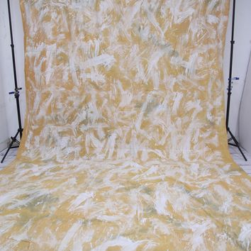 Abstract White paint marks on mustard yellow Backdrop Hand Painted - 10x20 - LCMOSL201 - LAST CALL