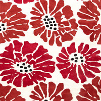 Traverse Collection Flora 100% Wool Area Rug in White & Velvet Red by Jaipur