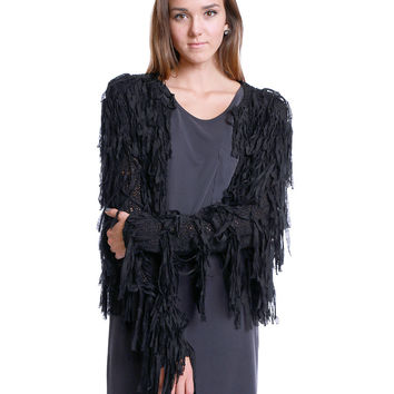 Nothing But Trouble Sweater Cardigan - Black Fringe