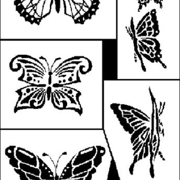 "butterflies glass etching stencil - 5"" x 8"""