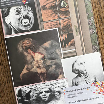 Evil Monsters Vintage Horror Movie and Halloween Collage, Scrapbook and Planner Kit Number 2525