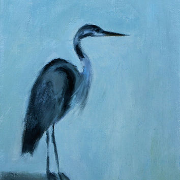 Oil Painting - Original - Honeyscolors - Blue Heron - Landscape - Bird - Original Artwork