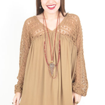 Mocha Dress with Crochet Sleeves and Top