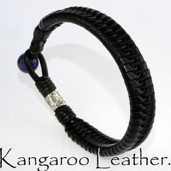 B-919 Finely Made Kangaroo Leather Lapis Lazuli Surf Wristband Men Bracelet.