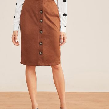 Suede Solid Button Front Midi Skirt