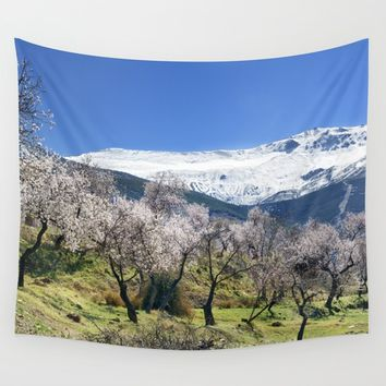 Flowering Almond At The Mountains II Wall Tapestry by Guido Montañés