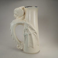 White Dragon Beer Stein with Beautiful Wings, Handcrafted Stoneware Art Pottery for Costumed Fantasy Festivals, Gamers