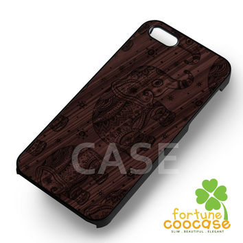 Aztec elephant wooden -end for iPhone 6S case, iPhone 5s case, iPhone 6 case, iPhone 4S, Samsung S6 Edge