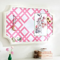 Scallop Framed Monogram Pinboard, Ribbon Geo, Bright Pink