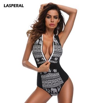 LASPERAL 2018 Sexy Women One Piece Swimsuit Vintage Print Zipper Plus Size Swimwear Brazilian Bathing Suit Beach Wear Monokini