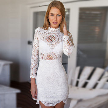 Slim Stylish Hollow Out Sexy Long Sleeve Zippers Lace One Piece Dress [4918834116]