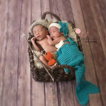 Mermaid & Fisherman Twin Photo Prop Set. Crochet Newborn Twin Photo Prop Outfit.