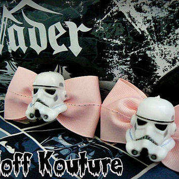 Star Wars Stormtrooper Pink Hair Bows PAIR