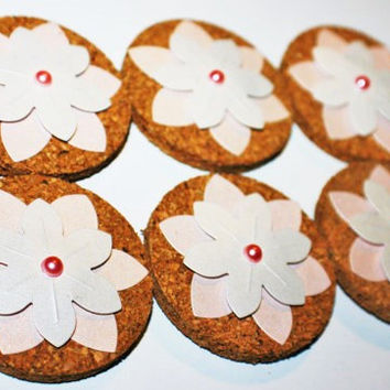 Decorative Pink and White Flower Cork Magnets - 6 Pack!