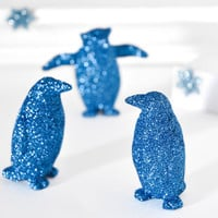 Olympian Blue Penguins Metallic Glitter Home Decor Winter Weddings, Christmas Holiday Entertaining Tablescapes or Repurposed Home Decoration