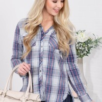 Howdy Blue Plaid Frayed Top
