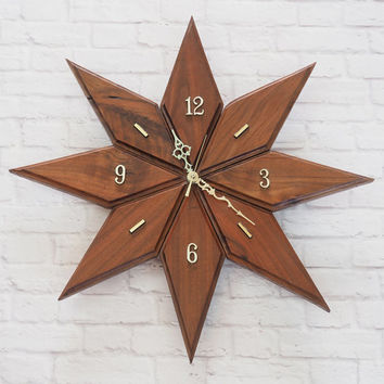 Awesome Mid Century Modern Wooden Starburst Clock / Retro Wall Clock / Quartz  Movement