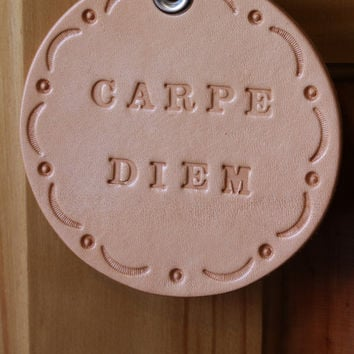 Carpe Diem Sign, Carpe Diem Wall Decorations, Seize The Day Leather Wall Hanging, Hand Tooled Leather Rounders, Handmade Roundels