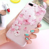 FLOVEME 3D Relief Flower Case For iPhone 6 6S iPhone X 10 7 Plus Soft Silicon Phone Cover For iPhone 7 6 6S Case Accessories