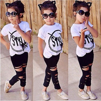 2016 New Fashion Kids Girls Clothes Set Little Girl Summer Short Sleeve T-Shirt and Hole Pant Leggings 2PCS Outfit Children Set
