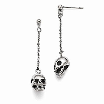 Stainless Steel Polished/Antiqued Skull Post Dangle Earrings