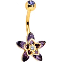 Clear Purple Gem Gold Tone Anodized Flowerburst Star Belly Ring