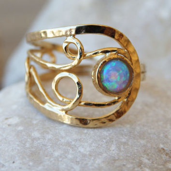 Unique Opal Ring, Asymmetrical Wide Opal Ring, Gold Opal Ring, Opal Jewelry, Filigree Ring, Ornamented Opal Ring, Goldfilled Blue Opal Ring