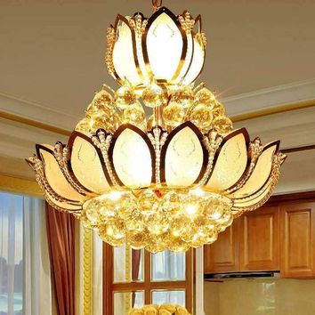 Lotus Flower Glass Gold LED Crystal Chandeliers Lights Ceiling Pendant Lamp 45cm 50cm For Dining Room Bedroom Lighting AC85-265V