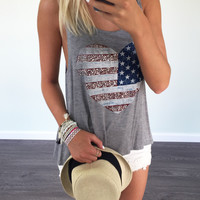 American Love Heart Flag Tank