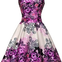 Purple Tea Rose Floral Dress