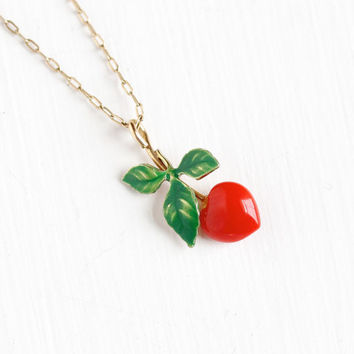 Vintage Cherry Pendant Necklace - Mid-Century 1950s Gold Overlay Krementz Red Glass Fruit with Green Enamel Leaves Jewelry
