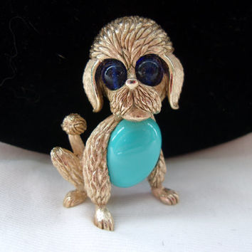 Trifari Dog Brooch Faux Turquoise Jelly Belly Blue Glass Cabachon Eyes Gold Plate Vintage Pin Book Piece