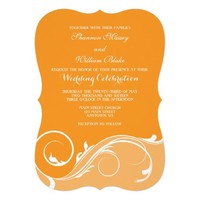 Orange Floral Swirl Bracket Wedding Invites