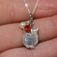 Owl Handsculpted Fine Silver Pendant with Swarovski Crystal and Pearl Item 313