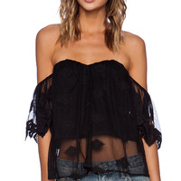 Line & Dot Jean-Michel Flutter Top in Black