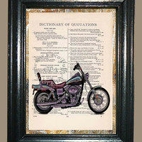 Harley Davidson 2003 DYNA - Vintage Dictionary Book Page Art Upcycled Page Art Mixed Media Art Motorcycle Print