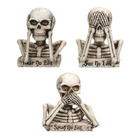 """No Evil Skulls"" Statuette Set by Summit Collection (Set of 3)"