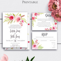Customized Floral Wedding Set, Roses Wedding Invitation, Printable Download, Wedding Card, Romantic Invitations, RSVP Card, Printable Invite