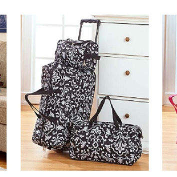 3 Piece Luggage Set Rolling Duffel Tote & Toiletry Bag Suitcase Roller Geo Pink Damask