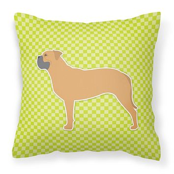 Bullmastiff Checkerboard Green Fabric Decorative Pillow BB3871PW1818