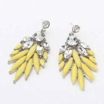 Earrings Chunky Stud Yellow Crystal Flower