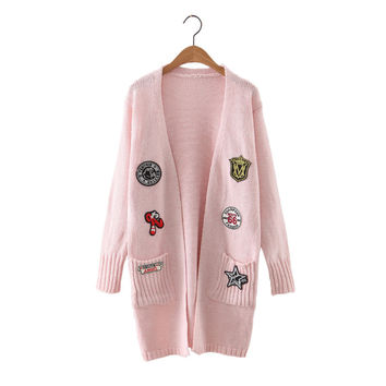 Women new winter cute pattern patch cardigan long sleeve warm open stitch autumn female streetwear elastic knitted long sweater